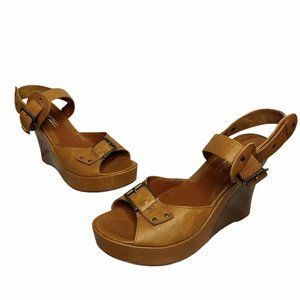 Via Spiga | Brown Tan Strappy Leather Wedges